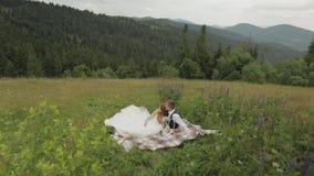 Brudgum med bruden som har en picknick på kullar för ett berg binder crystal smycken f?r parcravaten br?llop familj stock video