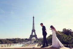 Brudgum och brud i Paris Royaltyfria Foton