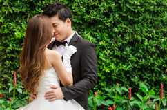 Brudgum och brud i trädgården Royaltyfria Foton