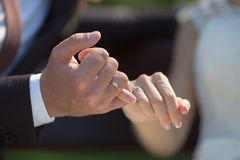 Brudgum och brud som gör en lillfinger att lova Arkivbild