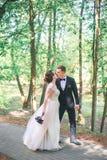 Brudgum och brud tillsammans Utomhus- romantiska par för bröllop royaltyfri fotografi