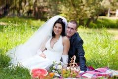 Brudgum och bruden Arkivfoto