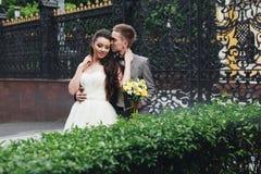 Brudgum som kysser hans eleganta brud Arkivbilder