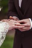 Brudgum som sätter en vigselring Arkivfoton