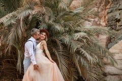 Brudgumkramar och kyssar av bruden på bakgrund av palmträd och vaggar Royaltyfri Fotografi