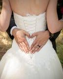 Brudgummar räcker framställning av en hjärta runt om hans brudar tillbaka Arkivbild
