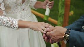 Brudgummen bär cirkelbruden arkivfilmer