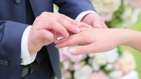 Brudgummen bär cirkeln på brudens finger arkivfilmer