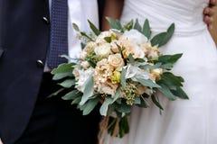 Brudgummen i en dräkt och bruden i en stående sida för vit klänning Arkivfoton