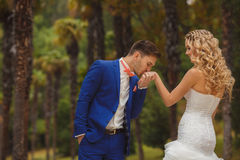 Brudgummen kysser brudens hand i parkera Arkivbild