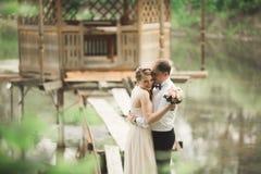 Brudgummen kysser pannan för brud` s, medan hon lutar till honom som ler Fotografering för Bildbyråer