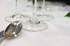 Brudgumställeinställning på bröllop arkivfoto