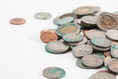 Brudne tajlandzkie monety Zdjęcia Stock