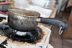 brudny kuchenka rondel Obrazy Stock
