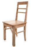 Brudny stary drewniany krzesło odizolowywający na bielu Fotografia Royalty Free