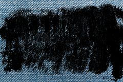 Brudnych grunge cajgów błękitna makro- tekstura dla drelichowego tła Obraz Stock