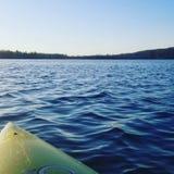 Brudtärnor får bort Gick kajakfiske på en avskild sjö arkivfoton