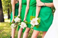 Brudtärnor i identiska gröna klänningar Royaltyfri Bild