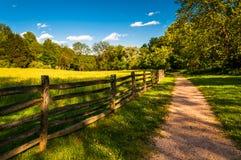 Brudu ogrodzenie przy Antietam obywatela polem bitwy i ścieżka Zdjęcia Stock