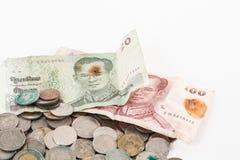 Brudzi monety i starego banknot Obrazy Stock