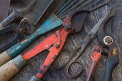 Brudzi narzędzia - roczników ogrodowi narzędzia na drewnianym tle Obraz Stock