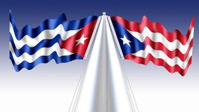 Cuba Puerto Rico flag waving sillky stars. Brue Red and white flag with star  over white , waving with the wind blue skay some  clouds,de un pajaro las dos alas Royalty Free Stock Image