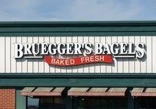Bruegger's Bagels Sign and Logo Stock Photos
