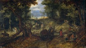 Brueghel fläderna, Januari - FN bosque, sista tre månader av århundrade 16 - första kvartal av århundrade 17 arkivbilder