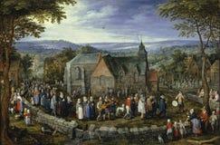 Brueghel l'aîné, janv. - mariage de pays, Ca 1612 image stock