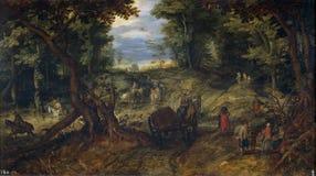 Brueghel l'anziano, gennaio - ONU bosque, un ultimo trimestre del secolo 16 - un primo trimestre del secolo 17 immagini stock