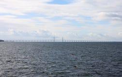 Brug à -ã-resund tussen Denemarken en Zweden, Zweden Stock Fotografie
