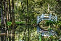 Brug bij Magnoliatuinen, Sc van Charleston Royalty-vrije Stock Afbeeldingen
