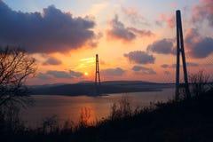 Brug bij zonsondergang Stock Afbeelding