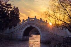 Brug bij zonsondergang Royalty-vrije Stock Fotografie