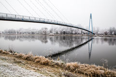 Brug boven Elbe rivier-Celakovice, Tsjechisch Rep Stock Fotografie