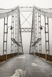 Brug in de mist in Kiev de Oekraïne Royalty-vrije Stock Foto