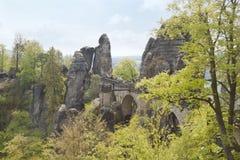 Brug genoemde Bastei, Duitsland Royalty-vrije Stock Foto's
