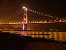 Brug in Hongkong bij nacht Royalty-vrije Stock Afbeelding
