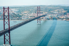Brug in Lissabon zoals Golden Gate Royalty-vrije Stock Fotografie