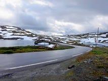Brug op nationale weg 55 in Noorwegen Stock Afbeelding