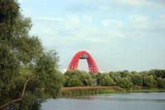 Brug over de rivier in Moskou Stock Foto's