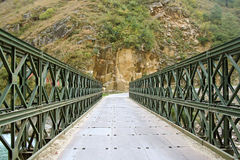 Brug over diepe rivier in ver Himalayagebergte India stock foto's
