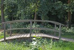 Brug over een beek in een bos Royalty-vrije Stock Afbeeldingen