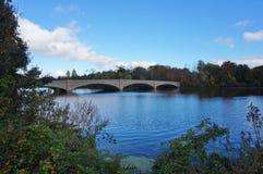 Brug over Meer Carnegie in Princeton, NJ in de herfst royalty-vrije stock foto's