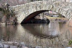 Brug over vijver met bezinning in het water op een zonnige de winterdag Royalty-vrije Stock Afbeeldingen