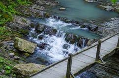 Brug over waterval in het Park van Sotchi Stock Afbeelding
