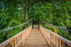 Brug over Weinig Sugar Creek, bij Vrijheidspark, in Charlotte, N Royalty-vrije Stock Foto