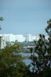 Brug, panoramisch Kiev, Kyev, de Oekraïne Royalty-vrije Stock Foto