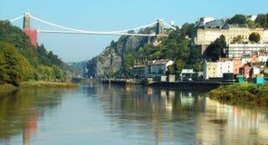 Brug, rivier en gebouwen van Bristol England Stock Afbeeldingen