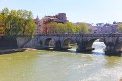 Brug in Rome, Italië Stock Foto